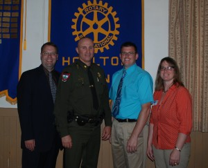 Pictured from left are Houlton Little League Board Member Joe Porter, Board Member and Rotarian, Ben Drew, Houlton Rotary President, John Tribou, and Board Member Cheryl Gentle.