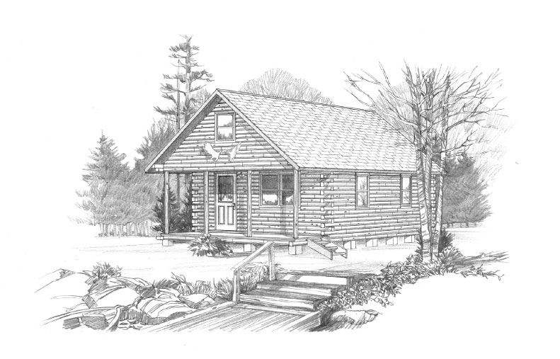 Artist Rendering of the Log Cabin up for Auction